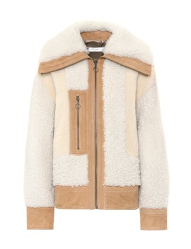 Suede Trimmed Shearling Jacket by Victoria Victoria Beckham
