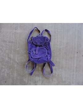 Beat To Hell Rare Vintage Purple Suede Small Backpack by Etsy