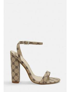 Nude Printed Barely There Block Heels by Missguided