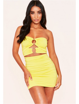 Bella Yellow Ruched Double Circle Cut Out Mini Dress by Missy Empire