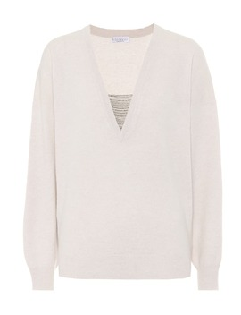 Embellished Cashmere V Neck Sweater by Brunello Cucinelli