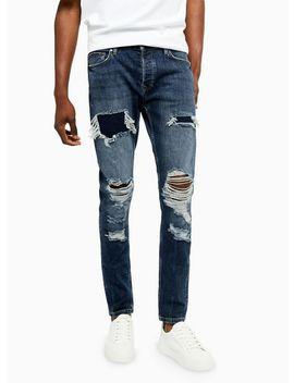 Dark Wash Extreme Rip Stretch Skinny Jeans by Topman