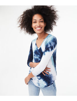 Long Sleeve Tie Dye V Neck Tee by Aeropostale
