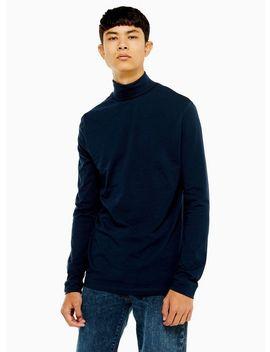 Navy Roll Neck T Shirt by Topman