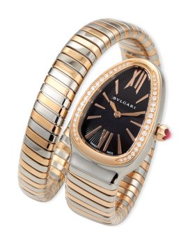 35mm Serpenti Tubogas Diamond Watch, Two Tone/Black by Bvlgari