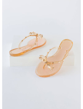 Bow Tiful Studded Glittery Jelly Sandals by Go Jane