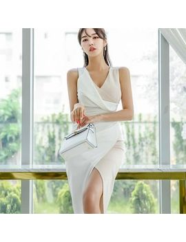 Hasu   Sleeveless Color Block Midi Sheath Dress by Hasu