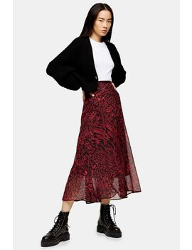 Red Warped Leopard Midi Skirt by Topshop
