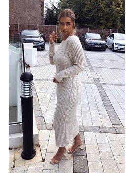 Beige Open Twist Back Knit Maxi Dress   Karrah by Rebellious Fashion
