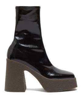 Patent Faux Leather Platform Ankle Boots by Stella Mc Cartney