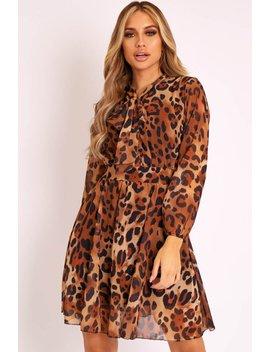 Leopard Neck Tie Smock Dress   Orrie by Rebellious Fashion