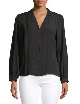 Pleated Notch Lapel Balloon Sleeve Shirt by Topshop