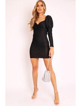 Black Glitter Puff Shoulder Sleeve Mini Dress   Alenna by Rebellious Fashion
