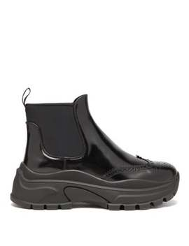 Chunky Sole Patent Leather Ankle Boots by Prada