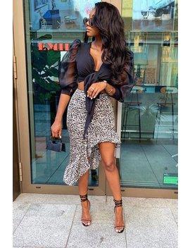 Black White Leopard Print Frilled Hem Midi Skirt   Julia by Rebellious Fashion