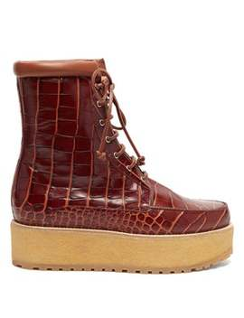 David Crocodile Effect Leather Flatform Boots by Gabriela Hearst