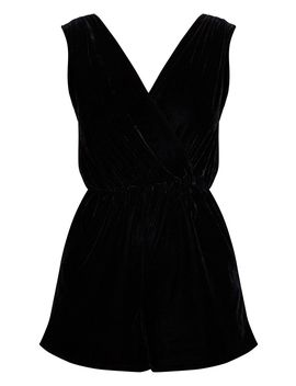 Black Velvet Wrap Sleeveless Playsuit by Prettylittlething