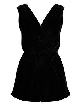 Black Velvet Wrap Sleeveless Playsuit by Prettylittlething