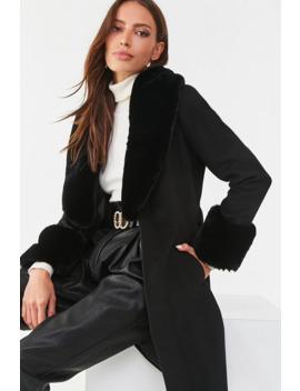 Faux Fur Trim Wrap Coat by Forever 21