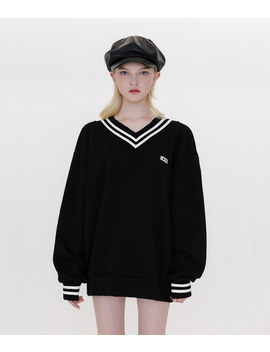 Untitle8 Contrast Stripe Black Sweatshirt by Mixxmix