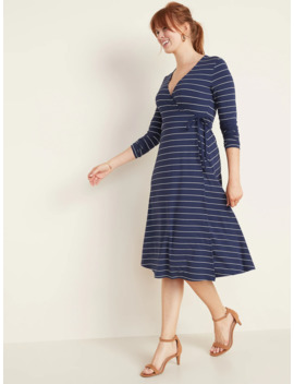 Patterned Jersey Wrap Front Midi Dress For Women by Old Navy