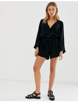 Asos Design Casual Slouchy Tie Waist Playsuit With Contrast Stitching by Asos Design