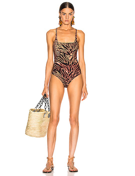 Tiger Print Swimsuit by Ganni