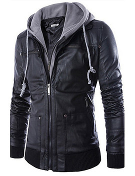 Men's Daily Punk & Gothic Fall / Winter Regular Jacket, Solid Colored Hooded Long Sleeve Faux Leather Black / Slim  #04419332 by Lightinthebox