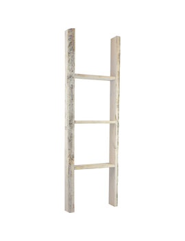 "15""W X 48""H X 3 1/2""D Vintage Farmhouse 3 Rung Ladder, Barnwood Decor Collection, Chalk Dust White by Ekena Millwork"