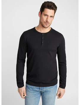 Stretch Organic Cotton Henley T Shirt by Le 31
