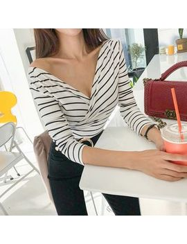 Dabagirl   Wrap Front Striped Top by Dabagirl