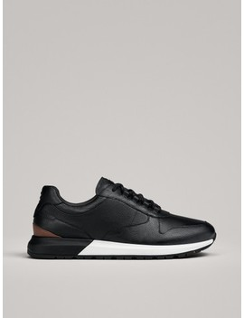 Black Tan Leather Trainers by Massimo Dutti