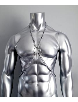 Chain Body Harness   Stainless Steel, Mens And Womens. Metal O Ring & Pendant Harness, Unisex Body Harness   Handmade by Etsy