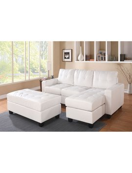 Acme Lyssa Reversible Chaise Sectional And Ottoman, Bonded Leather Match, Multiple Colors by Acme Furniture
