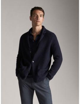 Melange Wool Blazer Style Cardigan by Massimo Dutti
