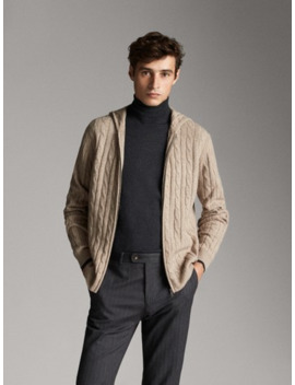 Cable Knit Wool And Cashmere Cardigan by Massimo Dutti