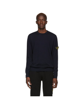 Navy Wool Knit Sweater by Stone Island