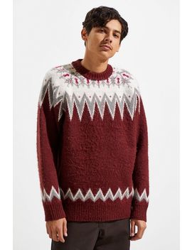 Uo Brushed Placed Pattern Crew Neck Sweater by Urban Outfitters