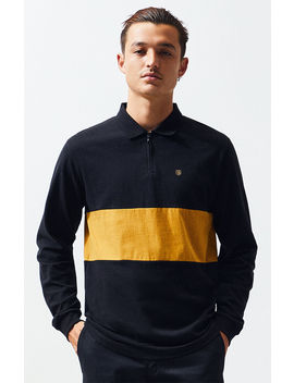 Brixton Hunt Quarter Zip Long Sleeve Polo Shirt by Pacsun