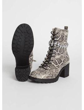 Add Sparkle Jewel Strap Snake Boots by Go Jane