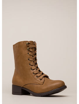 Fired Up Faux Leather Combat Boots by Go Jane
