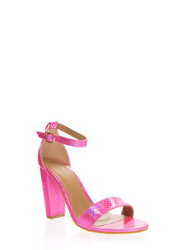 Snake In The Grass Chunky Strappy Heels by Go Jane