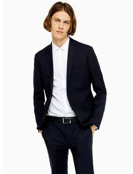 2 Piece Navy Pin Dot Skinny Fit Suit With Notch Lapels by Topman