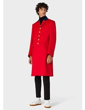 Men's Red Cavalry Twill Riding Coat by Paul Smith