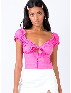 Elouise Crop Top Hyper Pink Neon Pink by Princess Polly