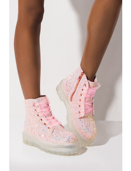 Yru Slayer Pink Glitter Combat Boot by Akira