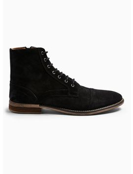 Black Suede Sarge Boots by Topman