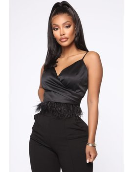 Fairy Tale Ending Feathered Top   Black by Fashion Nova
