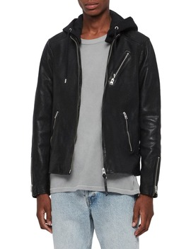 Harwood Hooded Leather Jacket by Allsaints