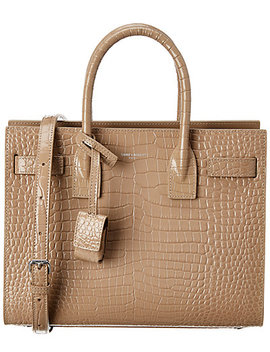 Saint Laurent Baby Sac De Jour Croc Embossed Patent Tote by Saint Laurent